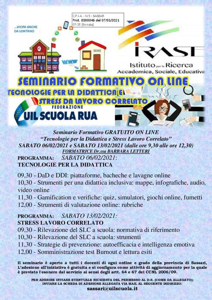SEMINARIO FORMATIVO UIL SCUOLA PERSONALE DOCENTE