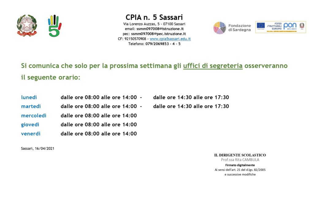 Orario Uffici Segreteria dal 14/06/2021 al 18/06/2021